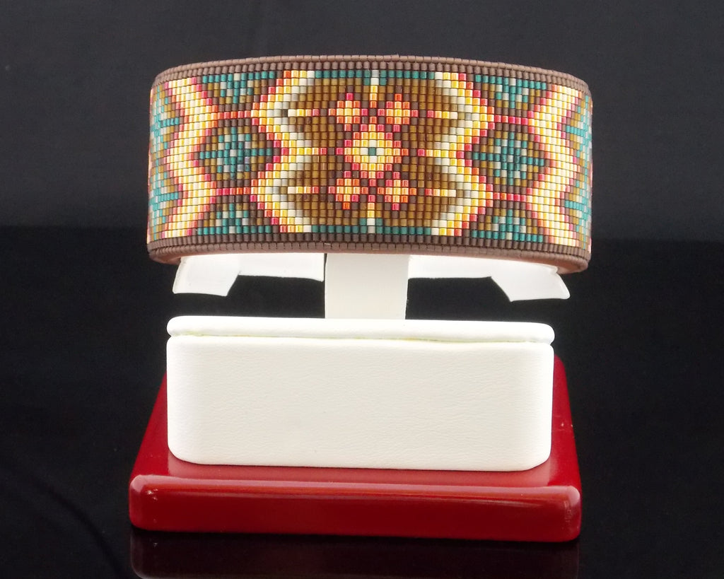 The Santa Fe Native American Beaded Cuff Bracelet Wide