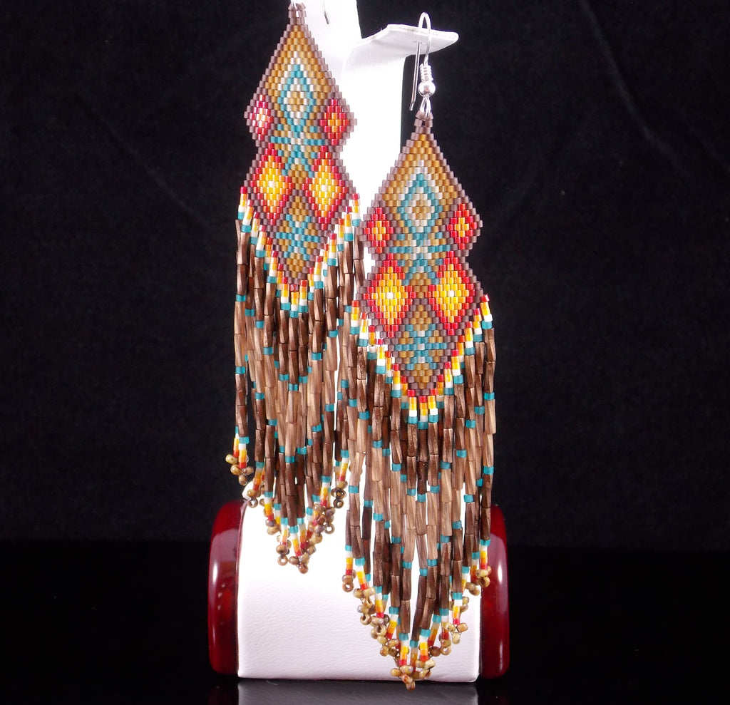 The Santa Fe Beaded Double Diamond Earrings