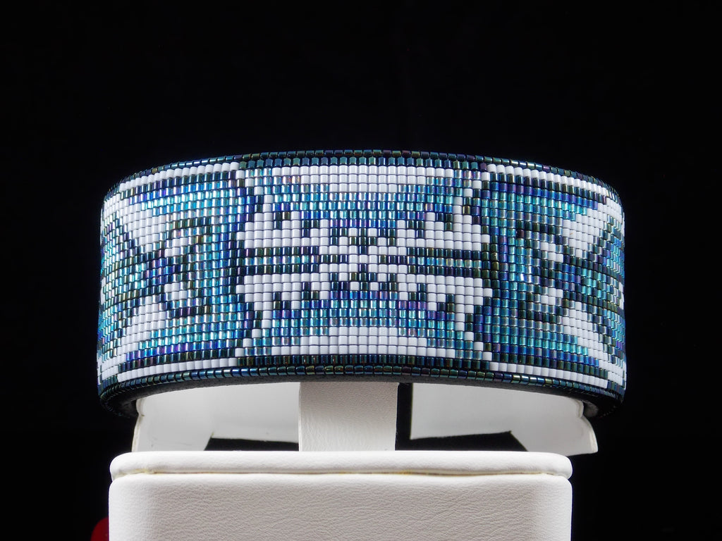 Water Bird Native American Beaded Cuff Bracelet