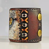 Florida Panther Native American Hand Tooled Leather Bracelet The Wildlife Series by LJ Greywolf