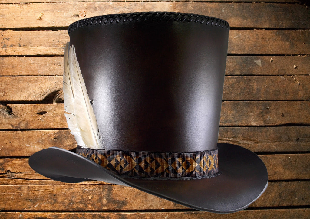 Reproduction of a Vintage 1800's Authentic Style Premium Leather Top Hat