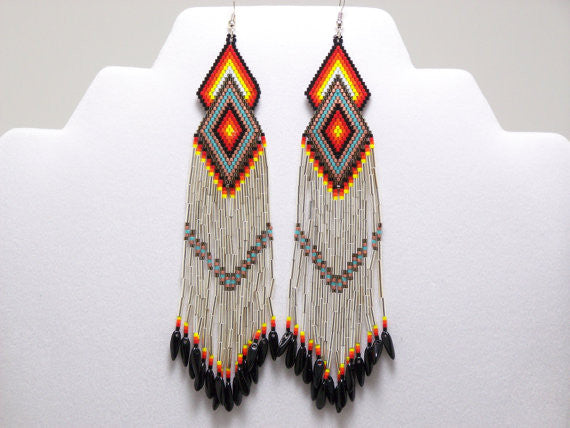 Native American Beaded Sterling Silver Diamond Earrings