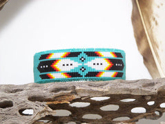 Native American Beaded Cherokee Turquoise Cuff Bracelet 1