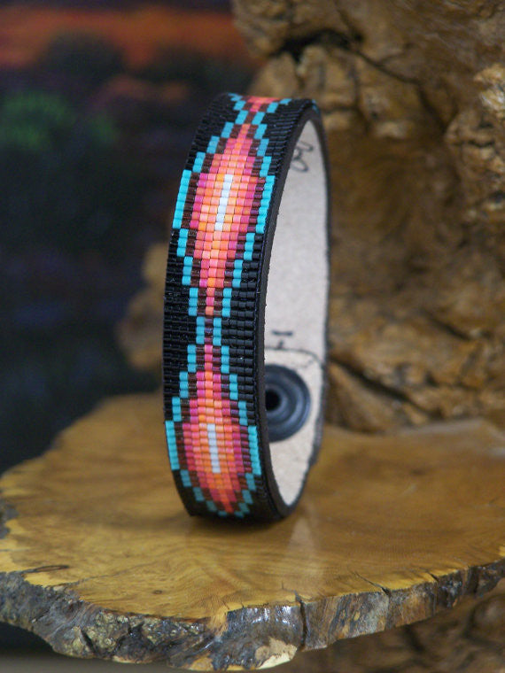 Native American Beaded Southwestern Leather Bracelet
