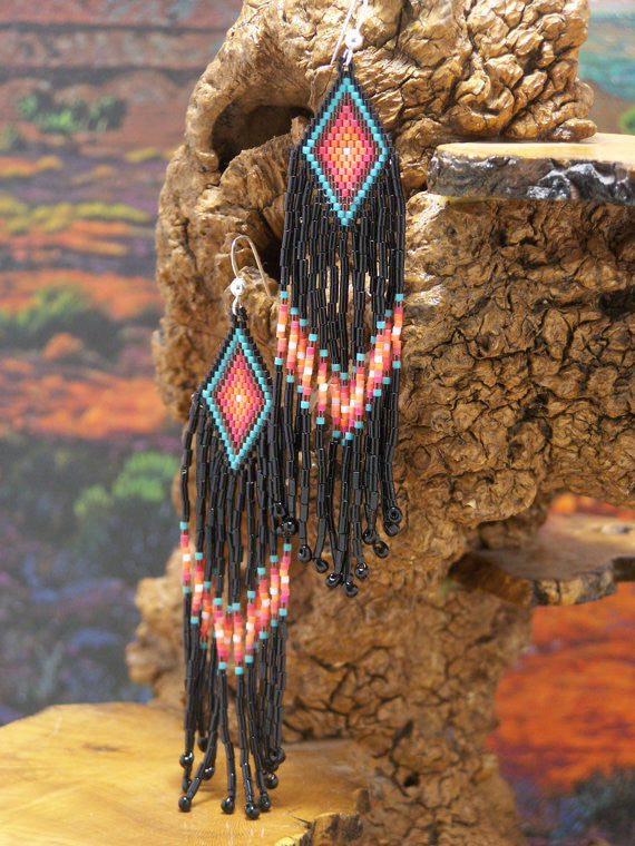 Southwestern Native American Beaded Diamond Earrings 1