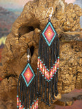 Southwestern Native American Beaded Diamond Earrings 3