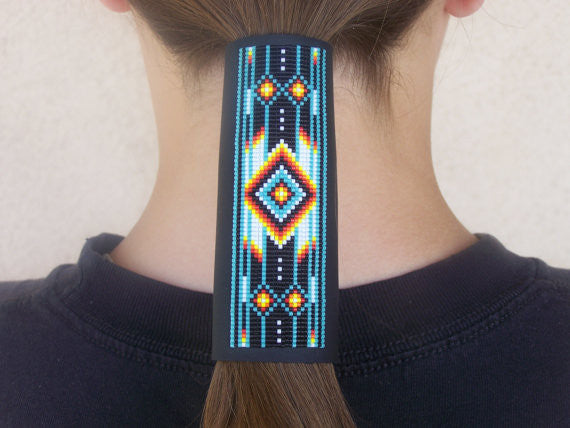 Classic Cherokee Chevron Pattern Beaded Leather Hair Wrap