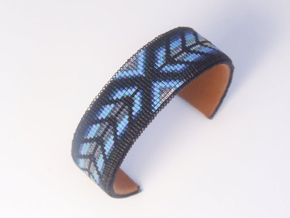 Native American Beaded Blue Herringbone Cuff Bracelet