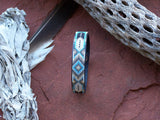 Feather Diamond Native American Beaded Leather Bracelet 2