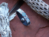 Feather Diamond Native American Beaded Leather Bracelet 3