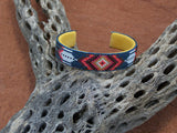 Native American Beaded Feather Blue Diamond Cuff Bracelet 5