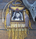 Chief Joseph 1903 Portrait Beaded Deerskin Bag 2