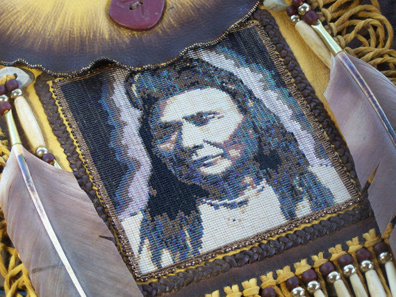 Chief Joseph 1903 Portrait Beaded Deerskin Bag