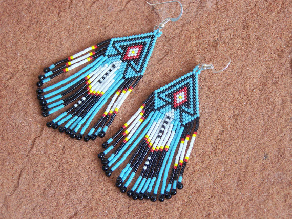 Southwestern Native American Beaded Feather Fridge Earrings