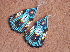 Southwestern Native American Beaded Feather Fridge Earrings 1