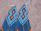 Native American Beaded Blue Double Diamond Earrings 2