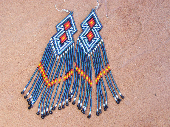 Native American Beaded Blue Double Diamond Earrings 1