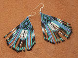 Cherokee Beaded Lavender Turquoise Arrowhead Earrings 1