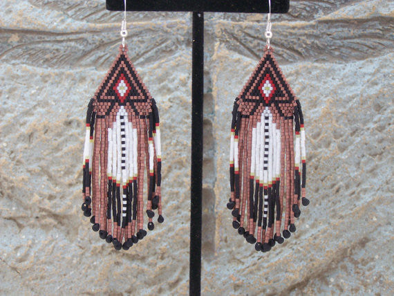 Cherokee Beaded Metallic Copper Arrowhead Earrings
