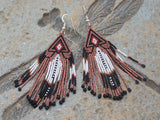 Cherokee Beaded Metallic Copper Arrowhead Earrings 2