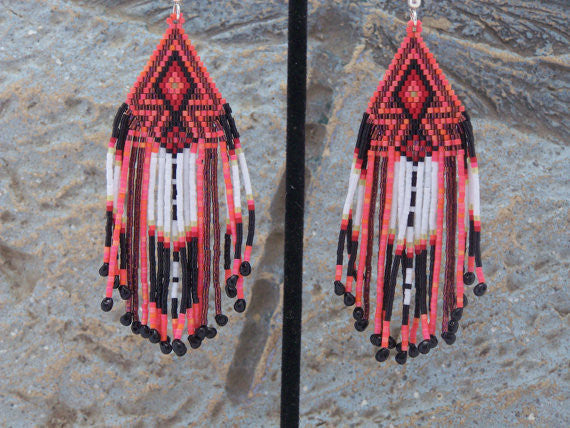 Cherokee Beaded Sunset Orange Arrowhead Earrings Ljgreywolf