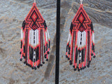 Cherokee Beaded Sunset Orange Arrowhead Earrings