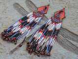 Cherokee Beaded Navajo Woman Sunset Background Earrings 1
