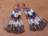 Cherokee Beaded Navajo Woman Sunset Background Earrings 2