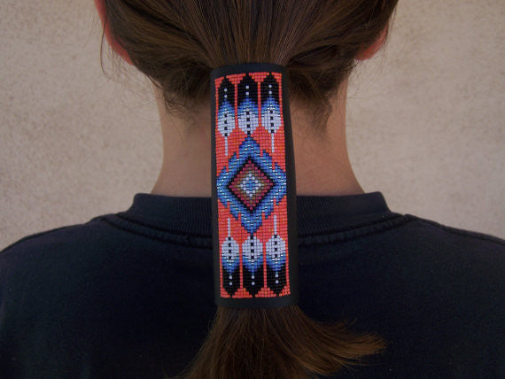 Native American Beaded Flame Feather Leather Hair Wrap