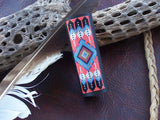 Native American Beaded Flame Feather Leather Hair Wrap 2