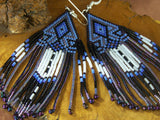 Cherokee Beaded Purple Lavender Arrowhead Earrings 4