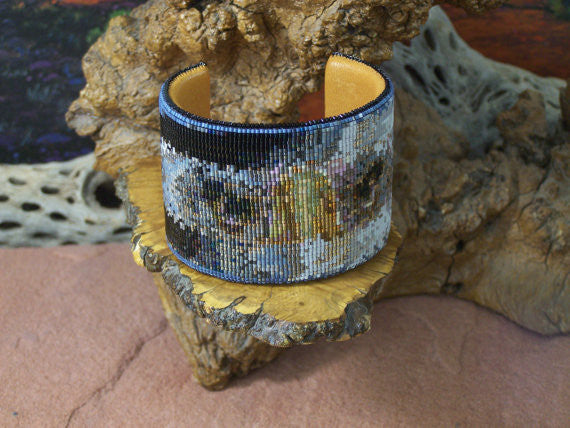 Eagle Eyes Native American Beaded Cuff Bracelet 1