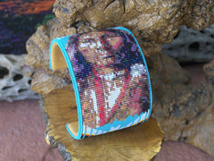 Native American Warrior Beaded Turquoise Cuff Bracelet 1