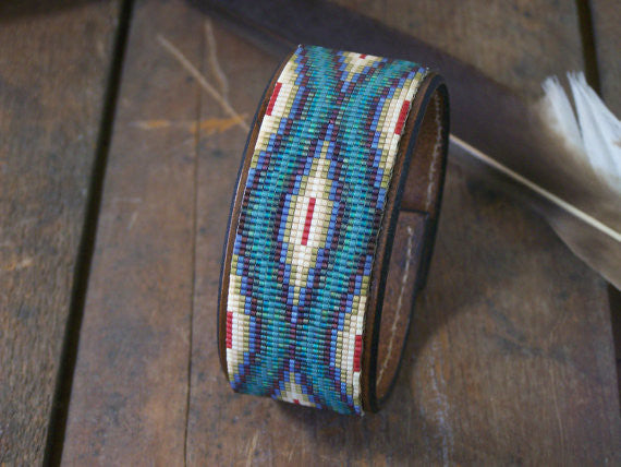 Southwestern Native American Beaded Leather Bracelet