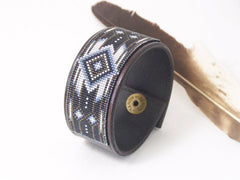 Cherokee Black Diamond Native American Leather Bracelet