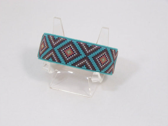 Native American Beaded Purple Diamondback Cuff Bracelet 1
