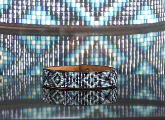 Diamondback Native American Beaded Leather Bracelet 1