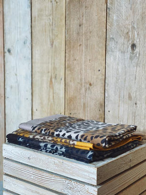Personalised Soft Leopard Print Scarf With A Border (MUSTARD)