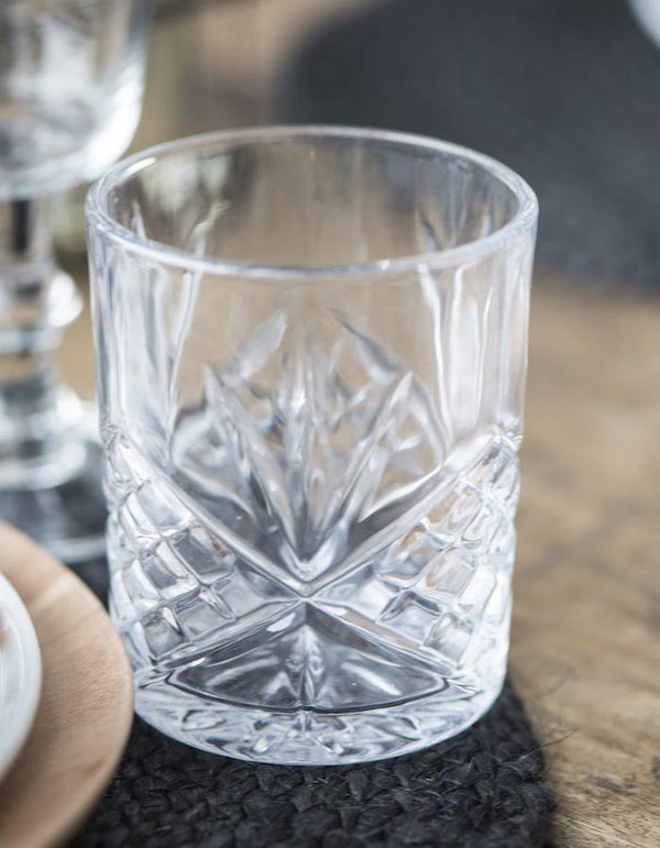 Glass Tumbler with Cut Glass pattern