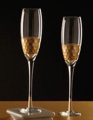 Set of Two Honeycomb Gold Champagne Flutes