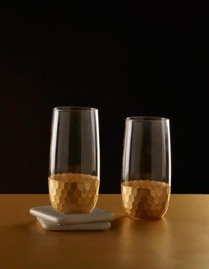 Gold Honeycomb Highball Glass