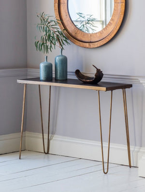 Gold Legged Tiled Top Console Table