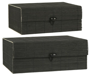 Set of Two Black Bamboo Boxes