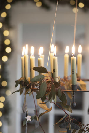 Black Metal Advent Candle Holder with Candles