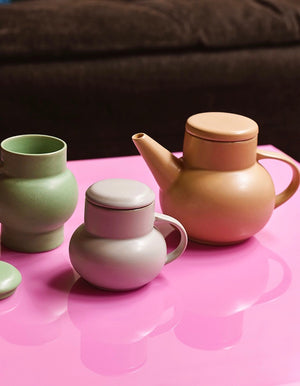 Pastel Bubble Tea Pot and Mugs with Lids