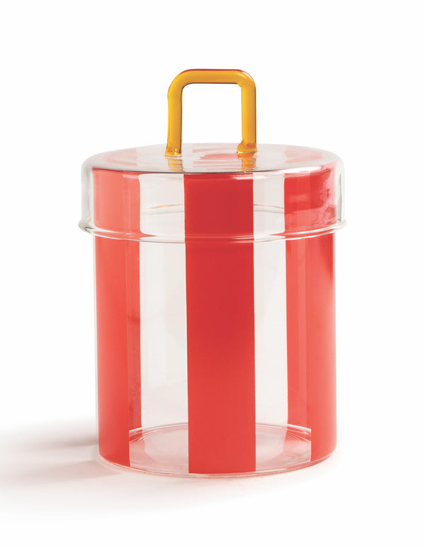 Red Striped Glass Circus Jar