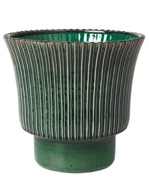Large Emerald Ribbed Planter in two sizes
