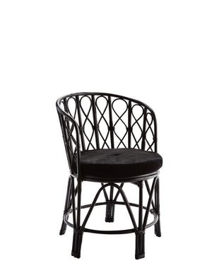 Black Bamboo Circular Chair With Velvet Seat Pads