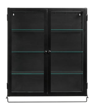 Black Industrial Display Wall Cabinet