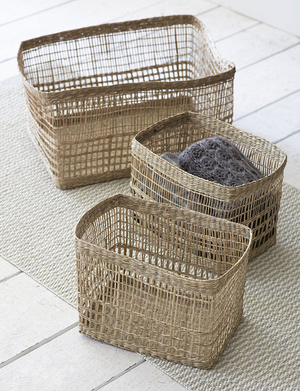 Set Of Three Rectangular Woven Baskets